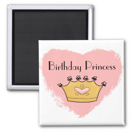 In My Pink Heart Princess Happy Birthday Magnet