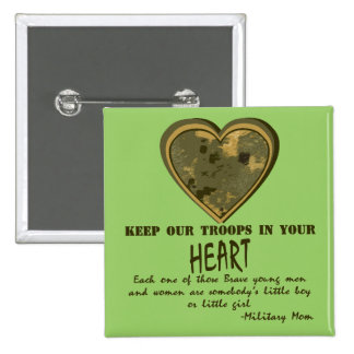 In Our Hearts 15 Cm Square Badge