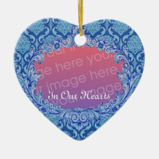 In Our Hearts Memorial Tribute Blue Damask Christmas Ornament