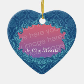 In Our Hearts Memorial Tribute Blue Damask Ver2 Christmas Ornament