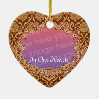 In Our Hearts Memorial Tribute Gold Damask Christmas Ornament