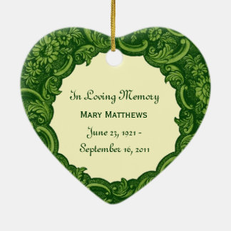 In Our Hearts  Memorial Tribute  Green Vintage V01 Christmas Ornament