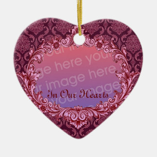 In Our Hearts - Memorial Tribute - Maroon Ceramic Heart Decoration