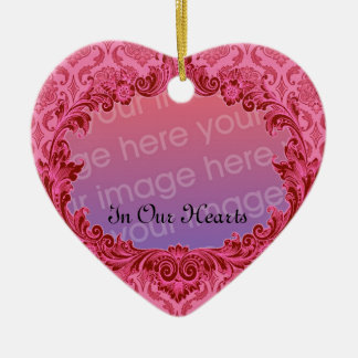 In Our Hearts Memorial Tribute Pink Damask Christmas Ornament