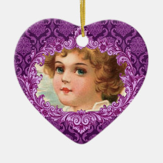 In Our Hearts Memorial Tribute Purple Curlicue Christmas Ornament