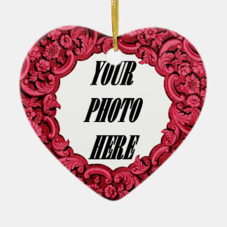 In Our Hearts PHOTO Memorial Tribute Red A06 Christmas Ornament