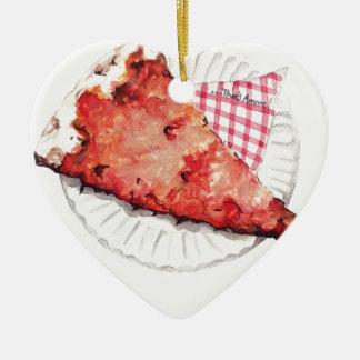 In Pizza We Trust Ceramic Heart Decoration