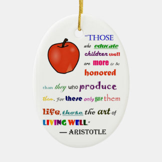 In Praise of Teachers Double-Sided Oval Ceramic Christmas Ornament