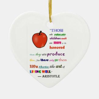 In Praise of Teachers Double-Sided Heart Ceramic Christmas Ornament