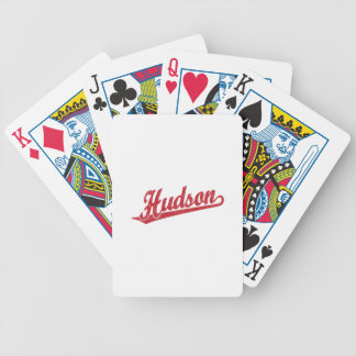 in red distressed poker deck