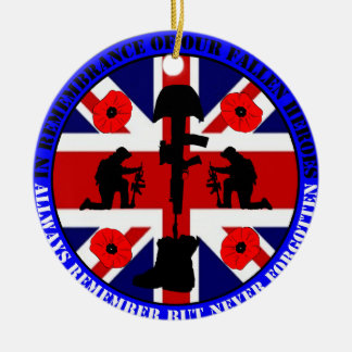 In Remembrance OF our fall UK Heroes Round Ceramic Decoration