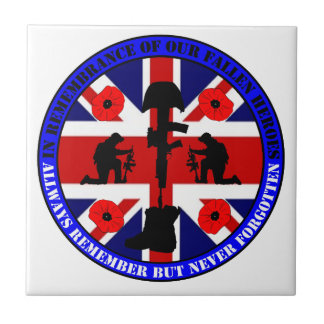 In Remembrance OF our fall UK Heroes Small Square Tile