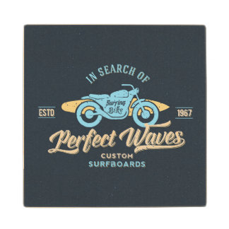 In Search Of Perfect Waves Poster Wood Coaster