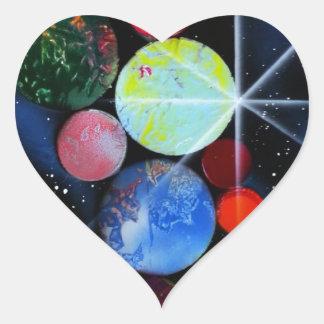 In Space Heart Sticker