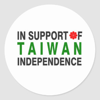 In Support of Taiwan Independence Classic Round Sticker
