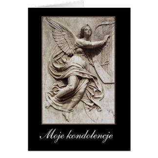 In Sympathy - Polish - Angel with Harp Greeting Card