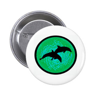 IN TEAL WATERS 6 CM ROUND BADGE