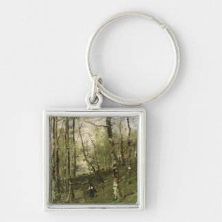 In the Barbizon Woods in 1875 Silver-Colored Square Key Ring