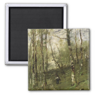 In the Barbizon Woods in 1875 Square Magnet