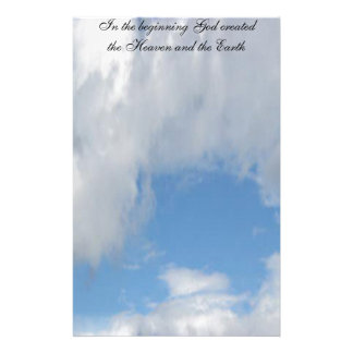 In The Beginning God Created .... Cloud Stationery Paper