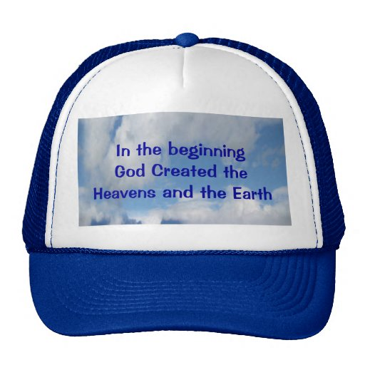 In The Beginning God Created Heaven and Earth Mesh Hat