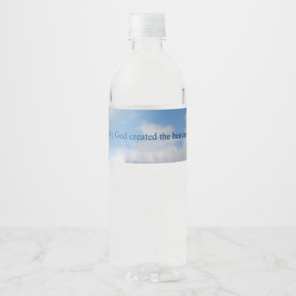 In the beginning God Created heaven and earth Water Bottle Label