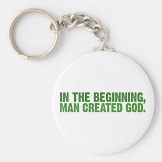 In The Beginning, Man Created God Key Ring