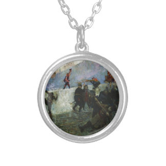 In the besieged Moscow in 1812 by Ilya Repin Round Pendant Necklace