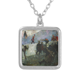 In the besieged Moscow in 1812 by Ilya Repin Square Pendant Necklace
