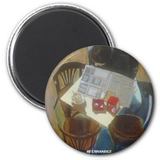 IN THE CAFE 6 CM ROUND MAGNET