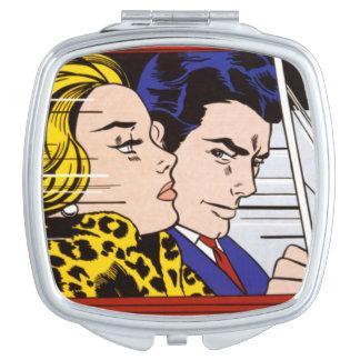 In the Car - Lichtenstein - Vintage Pop Art Compact Mirrors