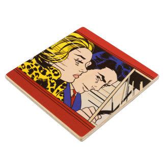In the Car - Lichtenstein - Vintage Pop Art Maple Wood Coaster