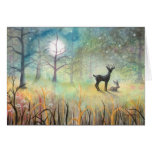 In the Clearing Deer and Rabbit Art Greeting Card
