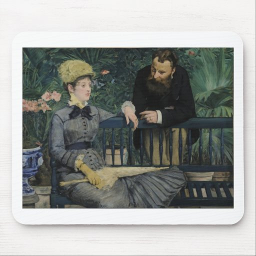 In the Conservatory - 1878 - 1879 by Edouard Manet Mousepad