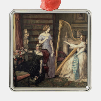 In the Drawing Room (w/c on paper) Christmas Ornament