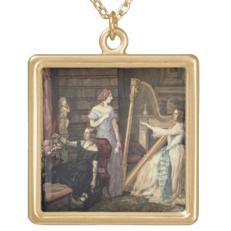 In the Drawing Room (w/c on paper) Square Pendant Necklace