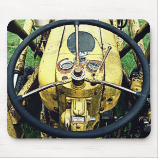 In the Driver's Seat of an Antique Yellow Tractor Mouse Pad