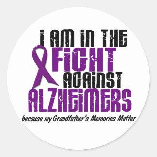 In The Fight Against Alzheimer's GRANDFATHER Round Sticker