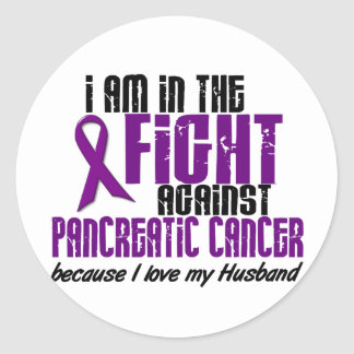 In The Fight Against Pancreatic Cancer HUSBAND Round Stickers