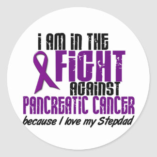 In The Fight Against Pancreatic Cancer STEPDAD Round Sticker