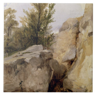 In the Forest of Fontainebleau, c.1825 (oil on can Tile