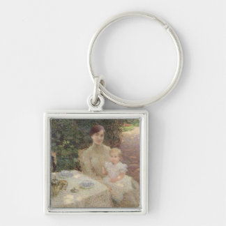 In the Garden, 1904 Silver-Colored Square Key Ring