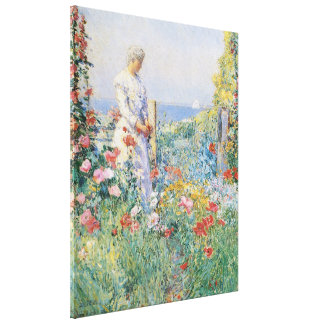 In the Garden by Hassam, Vintage Impressionism Canvas Prints