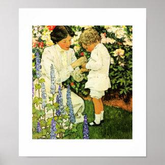 """In the Garden""  by Jessie Willcox Smith Poster"