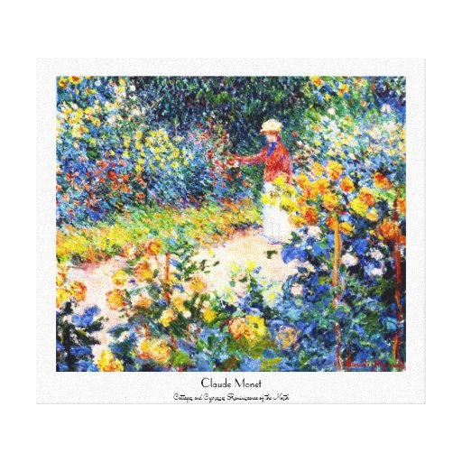 In the Garden Claude Monet woman painting Stretched Canvas Print