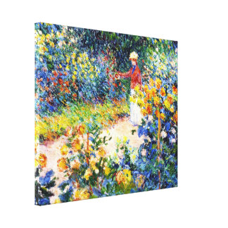 In the Garden Claude Monet woman painting Canvas Print