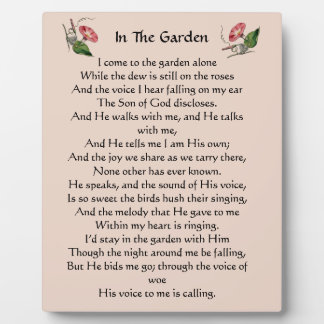 In The Garden Hymn Plaque