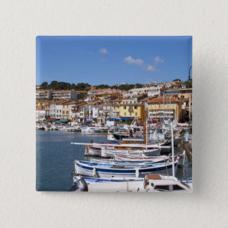 In the harbour in Cassis village. Fishing and 15 Cm Square Badge