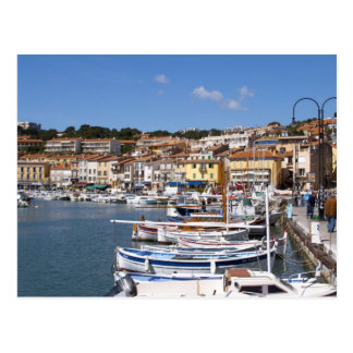 In the harbour in Cassis village. Fishing and Postcard