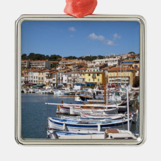 In the harbour in Cassis village. Fishing and Silver-Colored Square Decoration